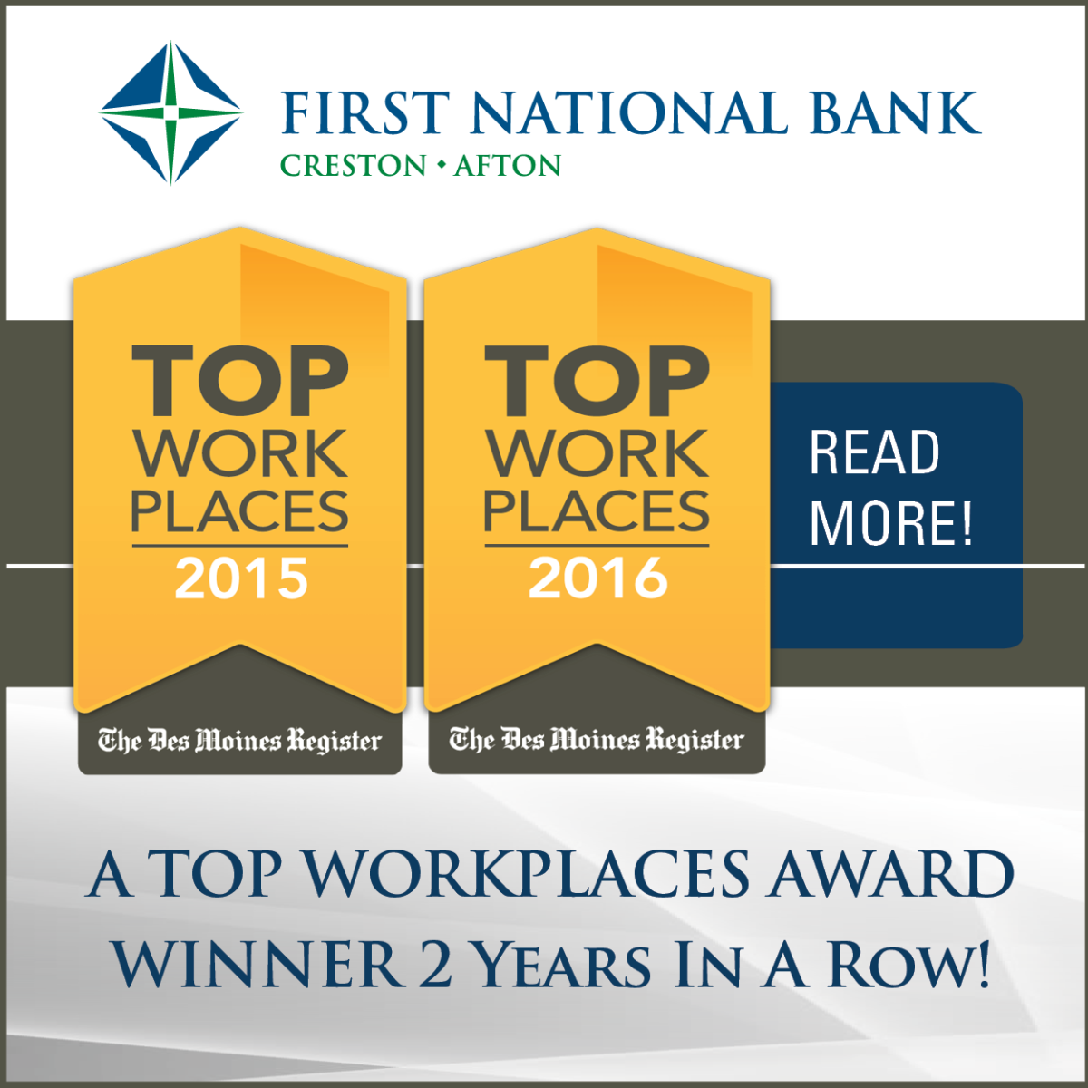Top workplace by the Des Moines Register